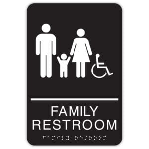 Family Restroom Signs - ADA Restroom Signs with rounded corners