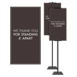 8901BR-2 Standing and Wall Covid safety signs: Masks, 6' apart, and please wait. Hotel Signage Guidelines, Retail Store Signs, and Interior Office Signs.