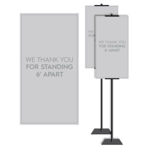 8901GY Grey Covid safety signs: Masks, 6' apart, and please wait. Hotel Signage Guidelines, Retail Store Signs, and Interior Office Signs.