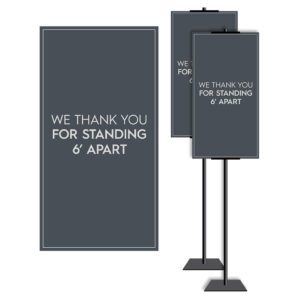 8901SL-2 Covid safety signs: Masks, 6' apart, and please wait. Hotel Signage Guidelines, Retail Store Signs, and Interior Office Signs.