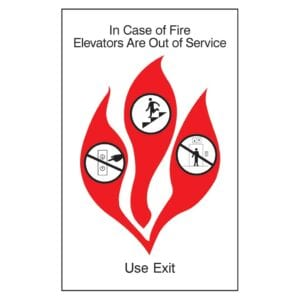 In case of a fire exit sign by IDG, hospitality sign company specializing in ADA Hotel Signs, Hotel Signs, Retail Store Signs, and Office Signs
