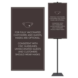 8928BR - 2 Brown Covid safety signs: Masks, 6' apart, and please wait. Hotel Signage Guidelines, Retail Store Signs, and Interior Office Signs.