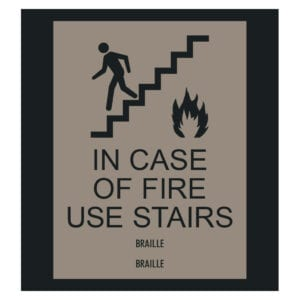 For Sale: Country Inn - In Case of Fire Use Stairs ADA Compliant Signs. A Hotel Fire Safety Door Signage