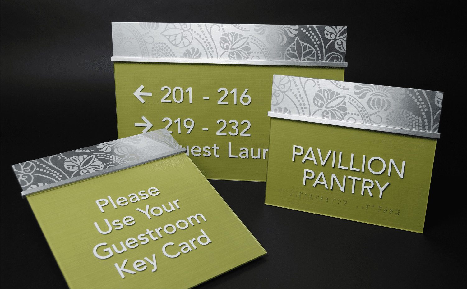 Matching Building Directory Signs and Room Numbers for Hotels to nicely complement Branded Hotel Signs, Wayfinding, ADA Signs, and Hospitality Signs