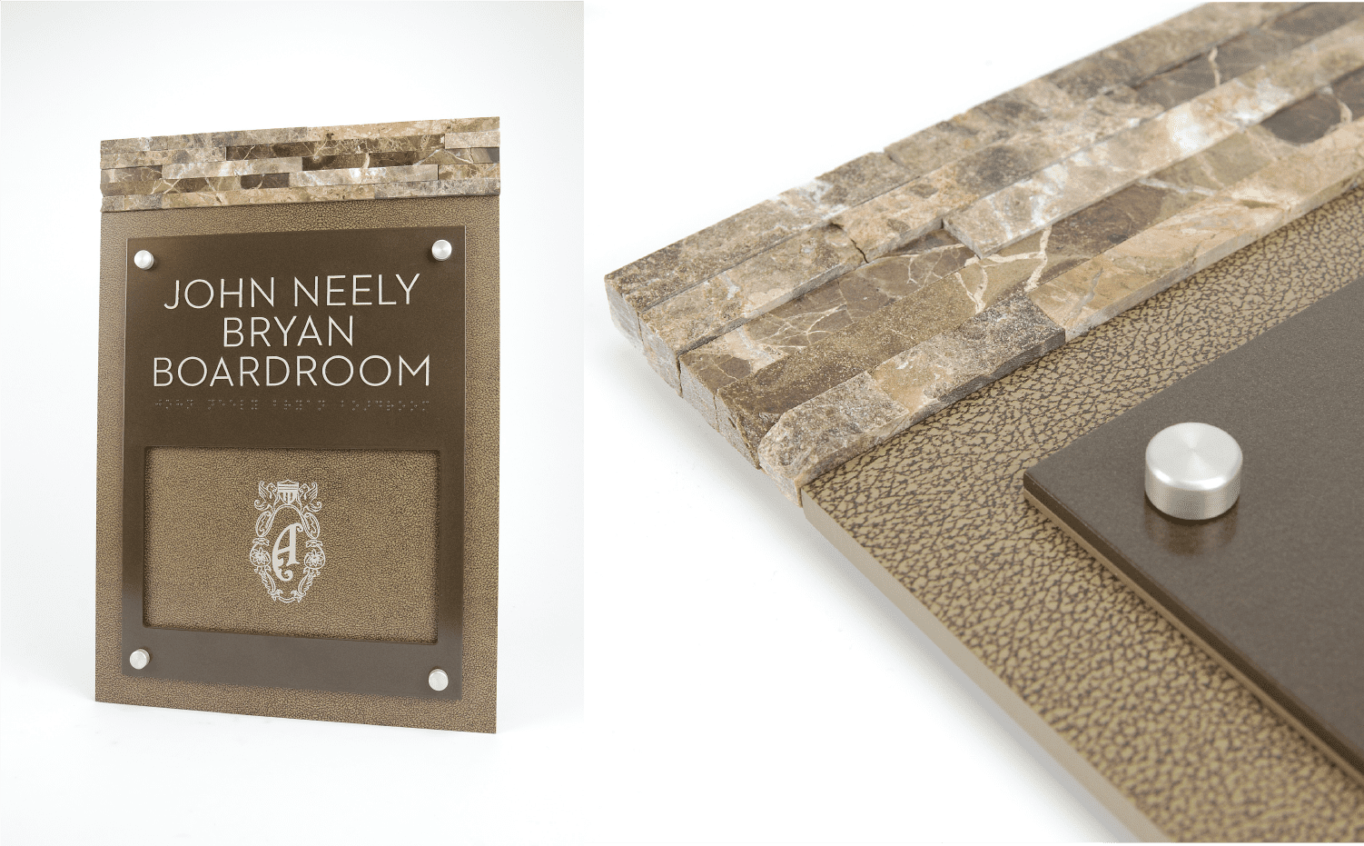 Brand Signs for Hotels - Boardroom & Hotel Room Signs with Stone Edges.