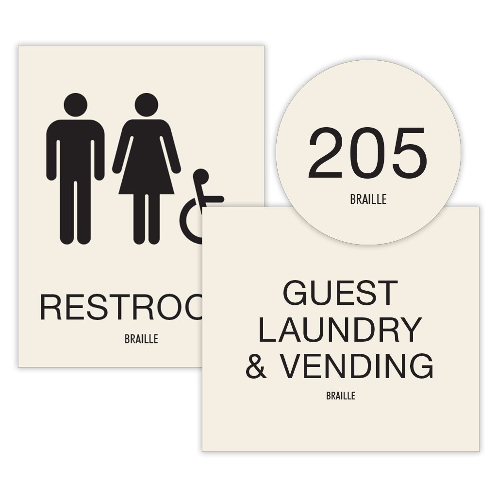 Compliant ADA Signs for Bathroom and Laundry Sign and Directional Signage by premier sign company knowledgeable in ADA guidelines