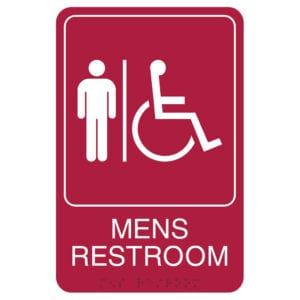 red mens Retail Restroom Wall Sign, ADA Compliant Room Signs and ADA Restroom Signs for Sale