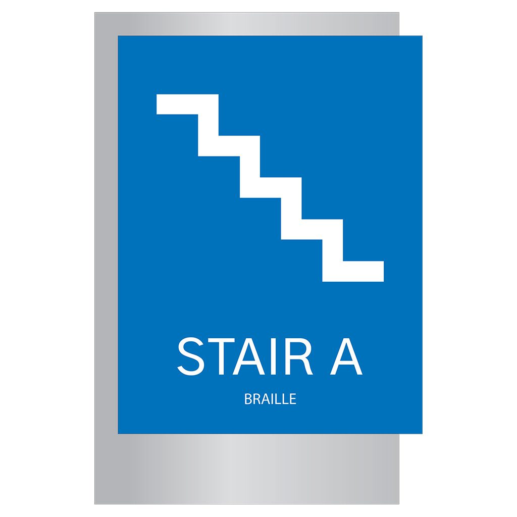 Compliant ADA Signs for Blue Stair Signage by premier sign company knowledgeable in ADA guidelines