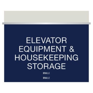Blue Equipment and housekeeping signage for Hotels, Retail Stores, and office to match visual merchandising and visual decor by a premier sign company