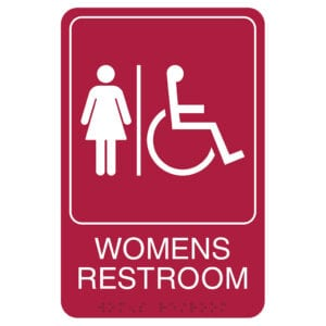 Red Retail Restroom Wall Sign, ADA Compliant Room Signs and ADA Restroom Signs for Sale