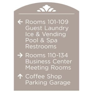 90500-10 Custom Interior Signage, Wayfinding Signage, ADA Compliant Signs, Hospitality Signs, Braille hotel room number signs, by IDG sign manufacture