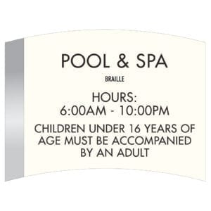 88762 Pool & Spa Room ID with Hours - Hotel Brand Signs