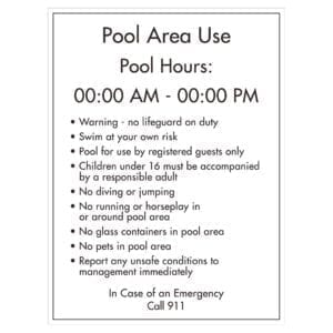91015 Pool Rule &Pool Hour Sign - Hotel Brand Signs
