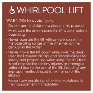 91809 Hotel Brand Signs Whirlpool Lift