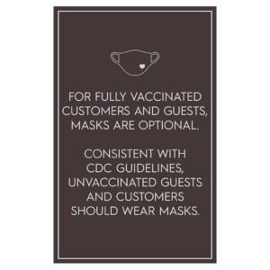 92361BR Brown Covid safety signs: Masks are optional. Hotel Signage Guidelines, Retail Store Signs, and Interior Office Signs.