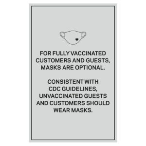 92361WP Wall Covid safety signs: Masks are optional. Hotel Signage Guidelines, Retail Store Signs, and Interior Office Signs.