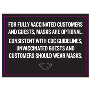 92366BK black color Covid safety signs: Masks are optional. Hotel Signage Guidelines, Retail Store Signs, and Interior Office Signs.