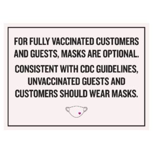92366BL white color Covid safety signs: Masks are optional. Hotel Signage Guidelines, Retail Store Signs, and Interior Office Signs.