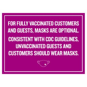 Pink Covid safety signs: Masks are optional. Hotel Signage Guidelines, Retail Store Signs, and Interior Office Signs.