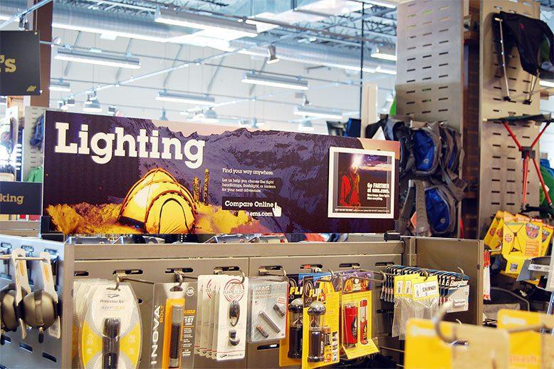Eastern Mountain Sports Retail Visual Decor & Custom Retail Display Signs