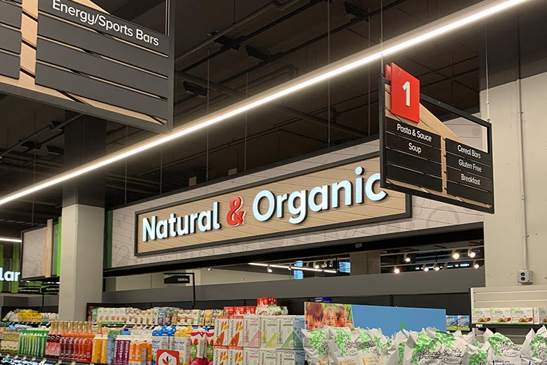 Custom Retail Design Signs for Organic Foods