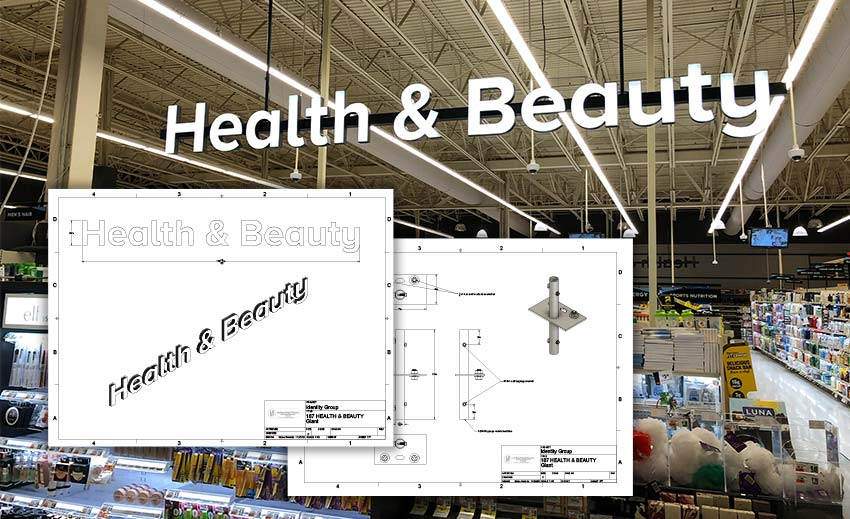 Custom Retail Design Signs for Health and Beauty at Giant Grocery Store
