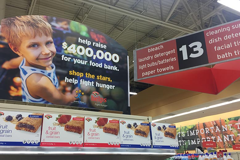 Custom Retail Design Signs for Aisle Markers in Hannaford Grocery stores